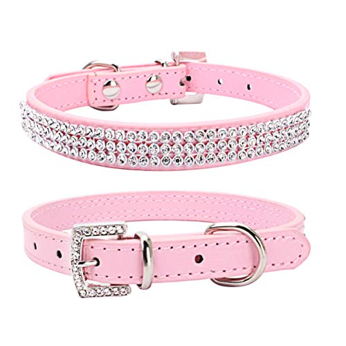 THAIN Basic Adjustable Dog Cat Collar Bling Rhinestones Shing Diamonds PU Leather with Rhinestones Buckle