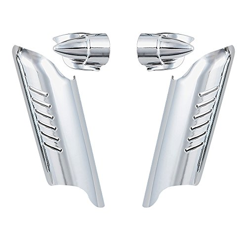 Chrome Lower Fork Leg Deflector Shields Fender Covers For 2000-2013 Harley Touring Dual (Fork Cover Kit)