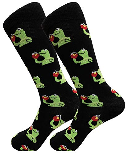 Balanced Co. Kermit Meme Dress Socks Funny Socks Crazy Socks Casual Cotton Crew Socks (Black)]()