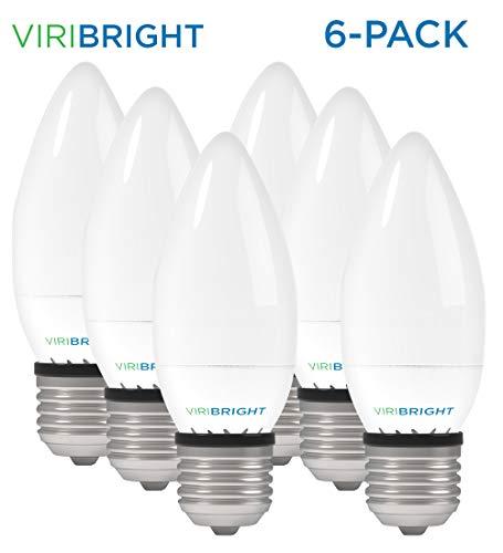 LED Candelabra Bulbs, Viribright B10 (3.2W), 25 Watt Equivalent led Light Bulbs, Warm White (2700K), 270 Lumen, E26 led Bulb Base (6 Pack - Warm White)