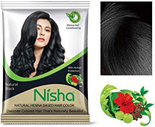 Natural Color Hair Henna Powder (Natural Black) 10G Pack of 10 by Nisha (Best Natural Henna For Hair)