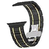 For Apple Watch Band 42mm Ceramic, Originality Club Premium Ceramic Bracelet iWatch Bands Strap Smart Watch Replacement Wrist Band for Apple Watch Series 3/2/1 Black&Gold