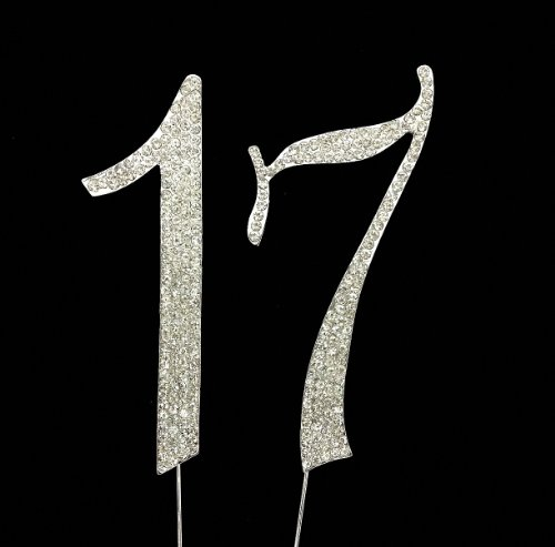 Numbrer 17 For 17th Birthday Or Anniversary Cake Topper Party Decoration Supplies Silver 45 Inches Tall