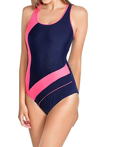 Aidonger mujeres de una pieza del triángulo del deporte del bikini del traje de baño Azul y Rosado
