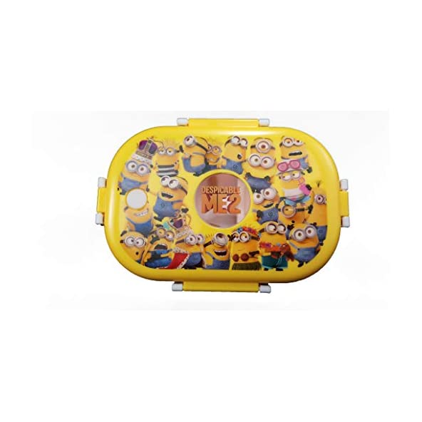 Aromora Minion Stainless Steel Lunch Box for Kids   Stainless Steel Insulated Lunch Box with Spoon and Mini Salad, Sabzi Box   Cartoon Characters for School Tiffin Set (3 Piece Set, 710 ml, Yellow)