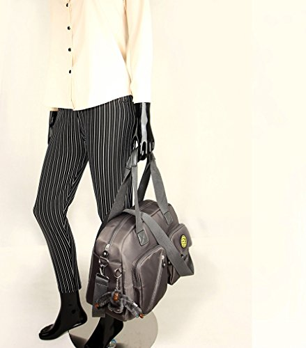 LeahWard Frauen Duffle Umhängetasche Mittlere große Handtaschen mit Lots Taschen 00541 (Dunkelblau Kreuzkörper) Grau