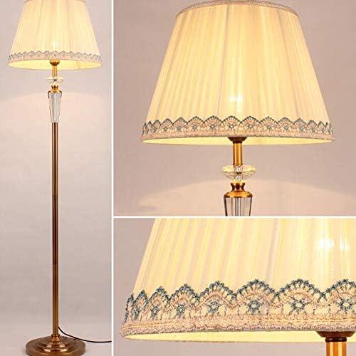 Floor Lamp,Crystal Antique Brass Floor Lamp,Living Room Bedroom Lounge Modern Metal Standing Lamps Beige Remote-Controlled Dimming