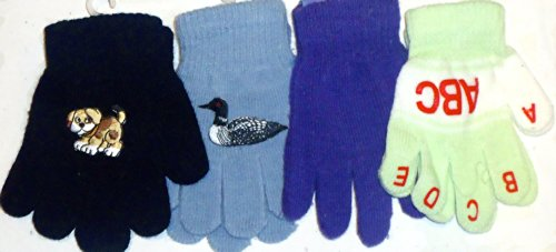 Set of Four Pairs Magic Microfiber Stretch Gloves for Infants for Ages 1-4 Years by Jolly