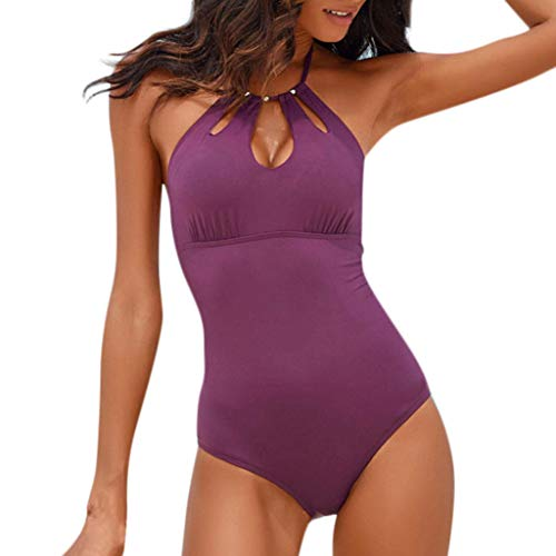 One Piece Swimsuits for Women Slimming Monokini Swimwear High V Neckline Halter Backless Bathing Suits Purple