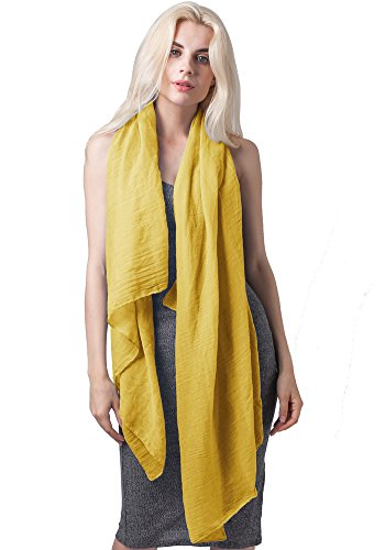 MissShorthair Lightweight Beautiful Solid Color Scarf for Women Shawl Wrap Soft Solid Scarf (Ginger)