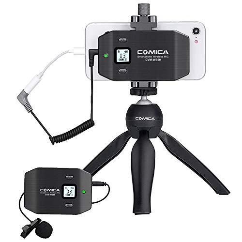 Comica CVM-WS50(C) Smartphone Wireless Lavalier Microphone with UHF 6 Channels 194 FT Wireless Range, Built-in Rechargeable Battery, Wireless Microphone for iPhone Samsung Huawei and More