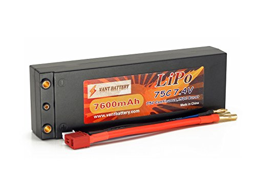 7.4V 7600mAh 2S Cell 75C-150C HardCase LiPo Battery Pack w/4mm Solid Bullets & Deans Ultra - Reedy Single Cell