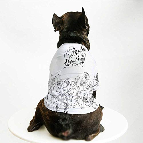 YOLIYANA Bridal Shower Decorations Stylish Pet Suit,Romantic Bride Party with Flowers Buds and Leaves Image for Small Medium Big Dogs,M ()