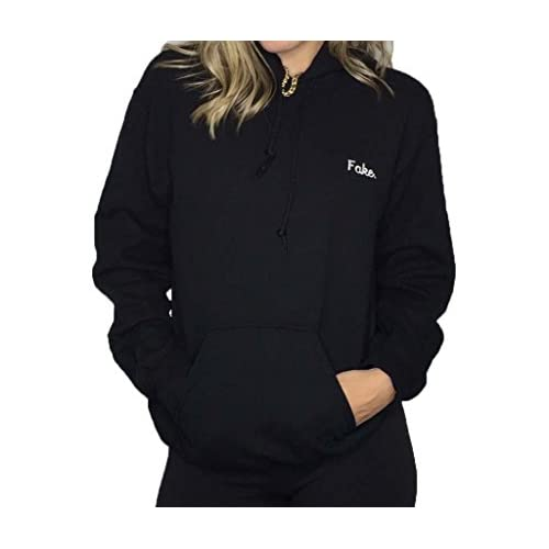 Outlet Fake Black Hoodie With White Embroidery On The Left Chest