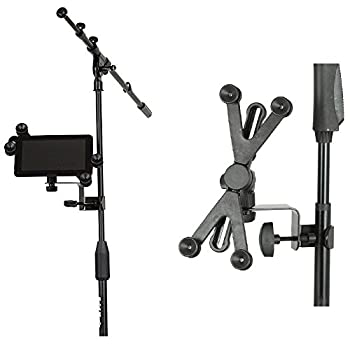 Hola! HM-MTH Microphone Music Stand Tablet & Smartphone Holder Mount - Fits Devices from 6 to 15 Inch Screen