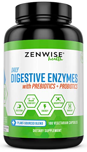 Zenwise Health Digestive Enzymes Plus Prebiotics & Probiotics - Natural Support for Better Digestion & Lactose Absorption - for Bloating & Constipation + Gas Relief - 180 Vegetarian Capsules (Best Treatment For Gas Pain)