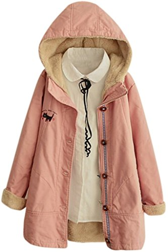 Womens Hooded Jacket Breasted Embroidery