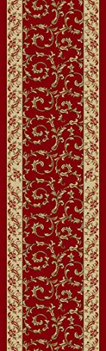 Custom Size Veronica Floral Red Roll Runner 36 in Wide x Your Length Choice Slip Resistant Rubber Back Area Rugs and Runners (Red, 20 ft x 36 in)