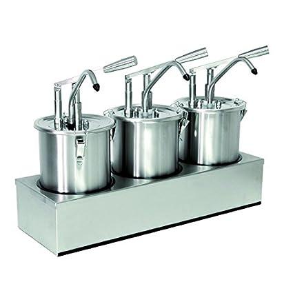 Dispensador de salsa (3 enchufes), cada uno con 5 litros de capacidad,