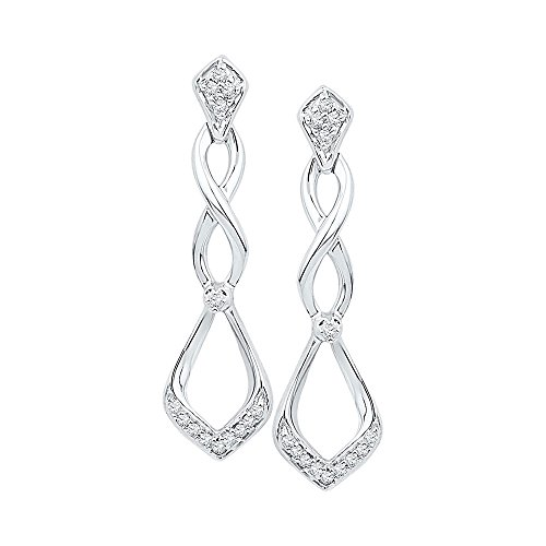 10KT White Gold Round Diamond Cascading Teardrop Dangle Earrings 0.09 (Cascading Dangle Earrings)