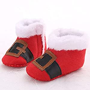 Christmas Style Toddler Newborn Shoes Baby Infant Kids Boys Girls Shoes Soft Plush Sole Sneaker First Walker - Red 11