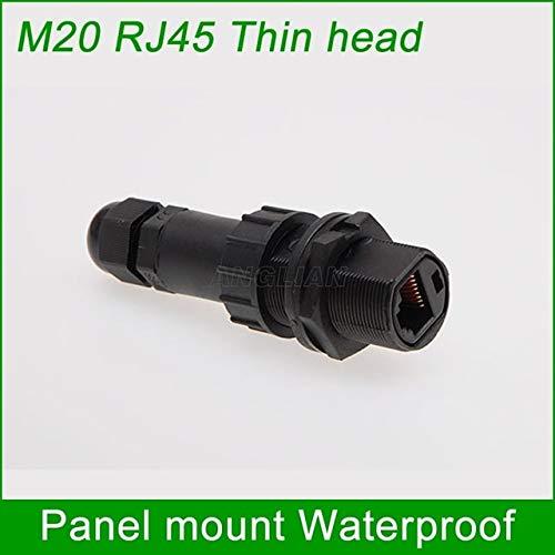 Gimax Thin single head RJ45 Metal shielded Gigabit Ethernet Female socket M20 Locknut Waterproof Connector panel mount joint 1 unit - (Color: Thin head Y3)