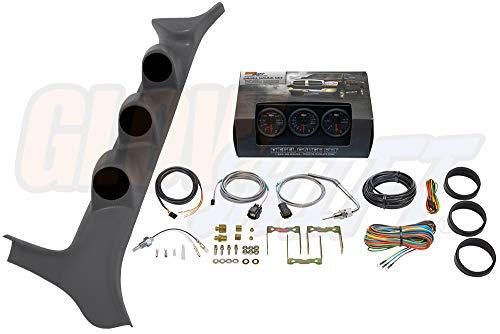 GlowShift Diesel Gauge Package for 1992-1997 Ford F-Series F-250 F-350 7.3L Power Stroke - Black 7 Color 60 PSI Boost, 1500 F Pyrometer EGT & Transmission Temperature Gauges - Gray Triple Pillar Pod ()