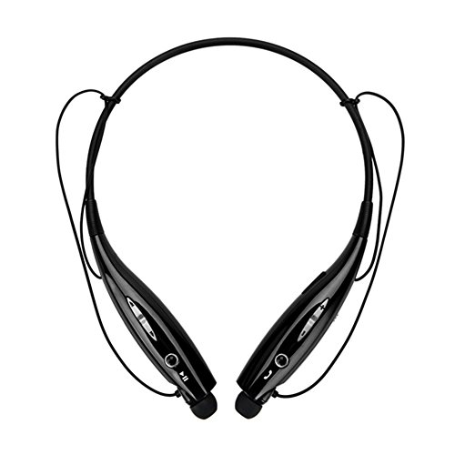 Wireless Bluetooth Music Sports Headset, with Stereo Bass Vibration Neckband Style Earphone Headphone for Cellphones iPhone, Nokia, HTC, Samsung, LG, Moto, PC, iPad, PSP Bluetooth Devices (Black)