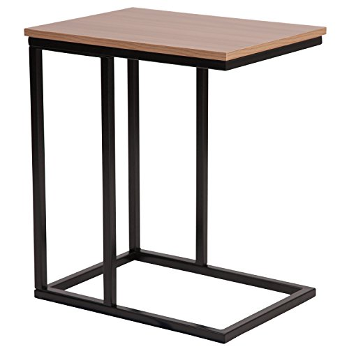 (Flash Furniture Aurora Rustic Wood Grain Finish Side Table with Black Metal Cantilever Base)