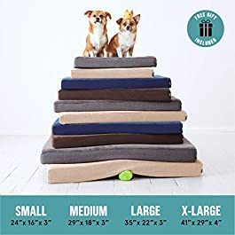 BarkBox Memory Foam Platform Dog Bed | Plush Mattress for Orthopedic Joint Relief | Machine Washable Cuddler with Removable Cover and Waterproof Lining | Includes Squeaker Toy