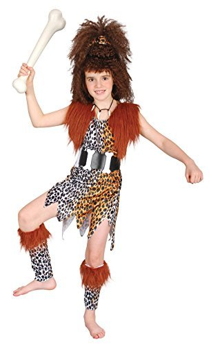 Girls Cavegirl + Wig Costume for Prehistoric Cavegirl Cavewoman Fancy Dress Child (XL) by Partypackage (Cavegirl Wig)