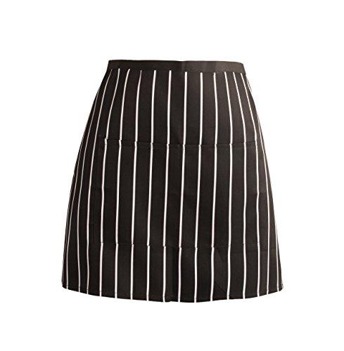 - APRN-135-Black and White Stripe Short Waist Pocket APRON for Bar Cafe Pub Chefs Waiter Waitress Apron