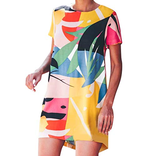 Redacel Fashion Womens Print Doodle Short Sleeve Loose Dress Holiday Casual Summer Dress (L, Yellow) ()