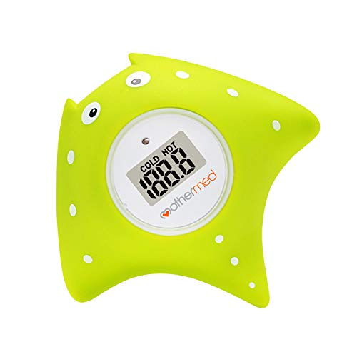 MotherMed Baby Bath Thermometer and Floating Bath Toy Bathtub and Swimming Pool Thermometer Green Fish Only for Fahrenheit