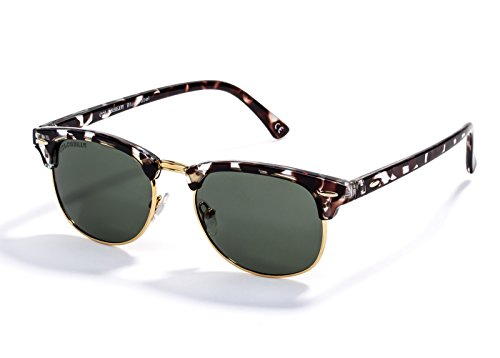 Semi-Rimless Sunglasses Classic Tortoise Shell Polarized Eyeglasses for Women with Hard Case