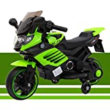 Toytexx Kids 6V Ride On Electric Motorbike w/Training Safety Wheels-Green Color