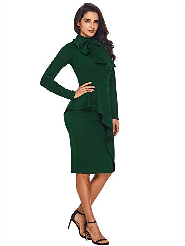 Business Womens Top Bodycon Embellished green Suit Bowknot One Deep Piece Dress Skirt AdfprdK