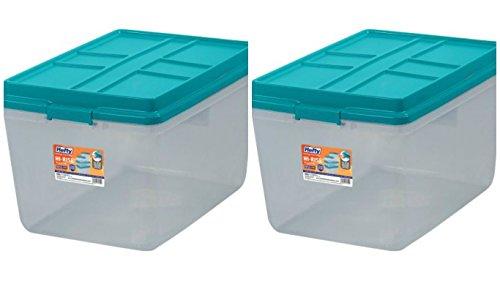 Hefty 72-Qt Hi-Rise Clear Latch Box, Teal Sachet Lid and Handles (2) 2 Handle Hi Rise