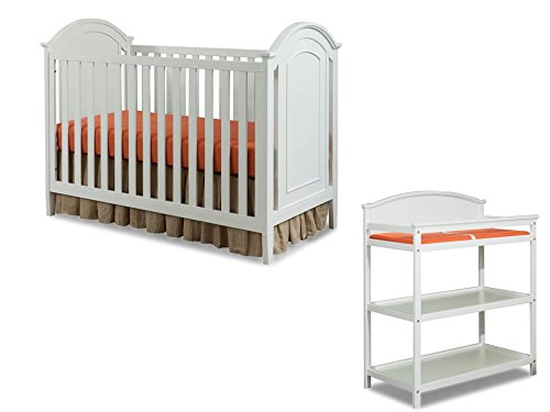 Price comparison product image Imagio Baby Harper 3 in 1 Cottage Panel Crib and Changing Table Set,  White