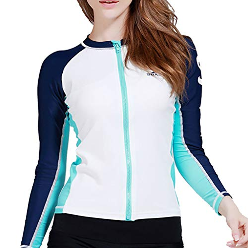 Allywit Women's Wetsuits Jacket Long Sleeve Neoprene Wetsuits Top Bathing Surfing Top White by Allywit (Image #2)