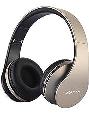 Auriculares Inalámbricos Sobre el oído, JIUHUFH Auriculares Plegables Bluetooth con micrófono Incorporado/3,5 mm con Cable de Entrada de Audio/Cómodas Almohadillas para PC /Teléfonos Celulares - Azul