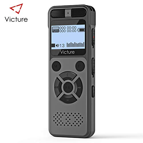 Victure Digital Voice Recorder 8GB 1536Kbps USB Professional Voice Recorder with MP3 Player, Portable Auto Voice Activated Recorder Rechargeable, Music Recording, Noise Reduction