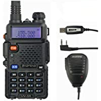 Baofeng UV-5R Talkie-walkie FM radio VHF/UHF avec double bande/horloge intégrée Noir