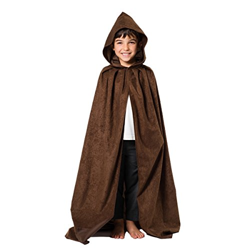 [Dark Brown Cloak or Cape with Hood] (Brown Monk Robe Costume)