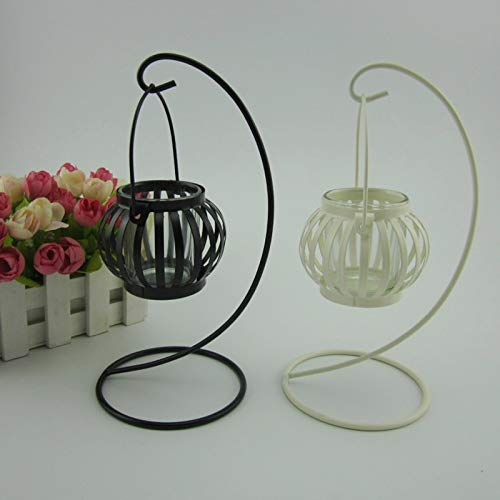 Candle Holders - European Retro Pumpkin Candlestick Metal Wrought Iron Hanging Lamp Decoration Candle Table Crafts - Antique Assorted Square Lamp White Octopus Rock Fashion Dinner Metal Amber