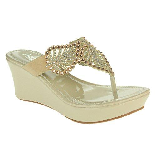 Tamaño Detalle de Señoras Mujer Ponerse Albaricoque Zapatos de cuña Sandalias Noche Comodidad Diamante hoja Casual Tacón Post Toe tAAaqEw