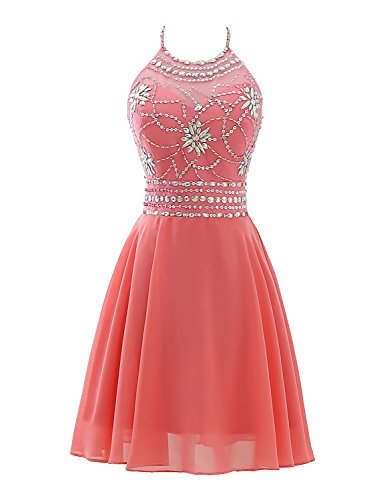 Sarahbridal Seniors Prom Dresses 2018 Short Beaded Halter Homecoming Gowns Coral US2 - Coral Halter Dress
