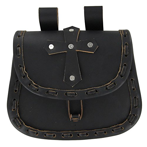 [Paladin Cross Medieval Black Leather Pouch] (Greek Stage Costumes)