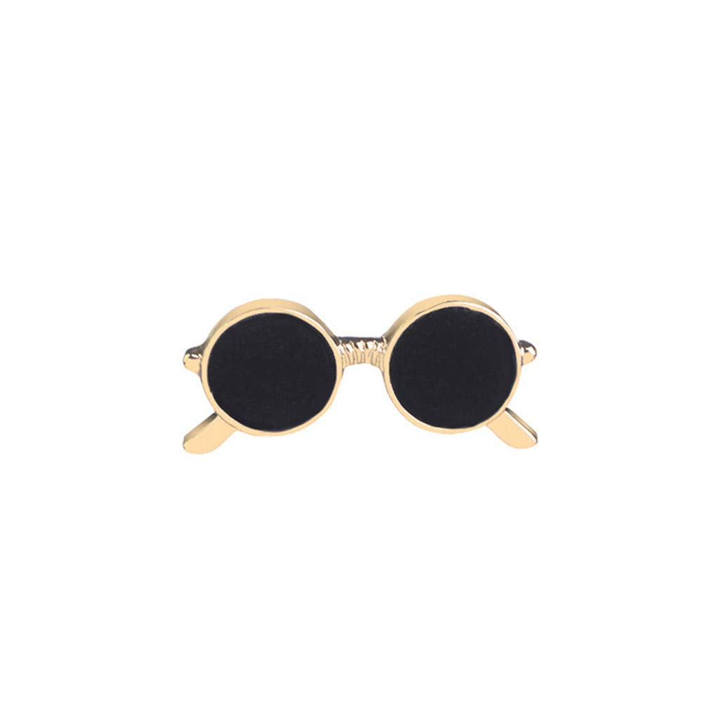 Iumer Sunglasses Brooch Men's Cute Cool Suit Shirt Badge Enamel Lapel Pin Clothing Accessories,Gold