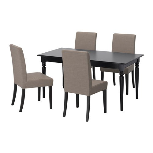 Ikea Table and 4 chairs, black, Nolhaga gray-beige 6204.261411.1836